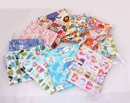 Wholesale Diaper Wipes - New Classic Fashion Nappy Stackers Reusable Wet Cloth Diaper Bags Double Zippers Diaper Bags Approxi 7-9 pcs Diapers 20pcs Lot Animal Print