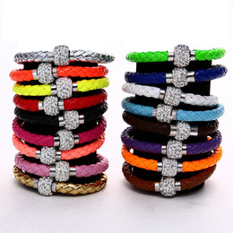 Wholesale Magnetic Ball Bracelets - hot new 15 colors 21cm 8mm Fluorescent Neon Color PU Leather Women Fashion Bracelet with Crystal Shamballa Ball Disco Magnetic Clasp