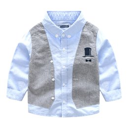 Wholesale Baby Boy Holiday Clothes - Spring and Autumn loaded new children's clothing boy children's holiday 2 baby long-sleeved shirt children's shirt