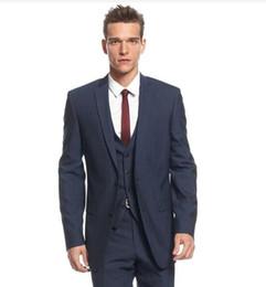 Военно-морской серебристый мужской костюм онлайн-Side Vent Groom Смокинги Темно-синий Groomsmen Notch Lapel Лучший мужской костюм Жених Свадебный выпускной ужин (куртка + брюки + жилет)