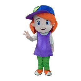 Wholesale Sh Girls - Beautiful Yellow Debbie Girl Lassock Mascot Costume With Blue Hat Orange Long Hairs Small Ears Black Long Brows No.4843 Free Sh
