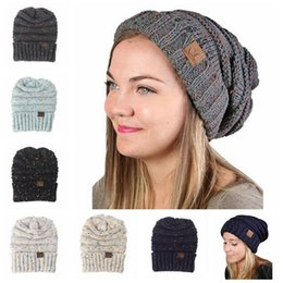 Wholesale Trendy Caps - 6 Colors CC Knitted Hats CC Trendy Beanie Women Chunky Skull Caps Winter Cable Knit Headgear Slouchy Crochet Hats CCA6861 20pcs