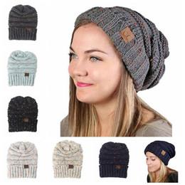Wholesale Trendy Hats Women - 6 Colors CC Knitted Hats CC Trendy Beanie Women Chunky Skull Caps Winter Cable Knit Headgear Slouchy Crochet Hats CCA6861 20pcs