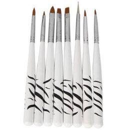 Wholesale Diy Printing Nail Art - Wholesale- 8Pcs Set Zebra Print Nail Art DIY Pen Set Dotting Painting Drawing Polish Brush Nail Tools White
