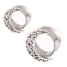 Wholesale body jewelry expander - Ear Expander Body Piercing Jewelry Moon Double Flare Hollow Body Piercings Trendy Ear Expander Plug Tunnel Jewelry Ear Gauges