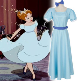 Wholesale Darling Dresses - Cartoon Movie Peter Pan Wendy Cosplay Costume Wendy Darling Blue Dress Casaul Dress Halloween Costumes for Women