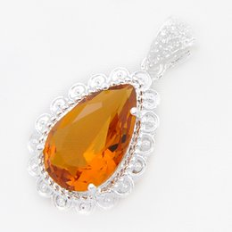 Wholesale Pear Pendant Necklace - Half Dozen Shine Pear Fire Brazil Citrine Gem Classic 925 Sterling Silver Pendants Necklace USA Israel Wedding Engagement Weddings Jewelry