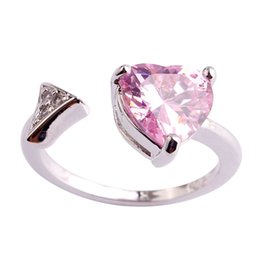 Wholesale Pink Topaz Gold Rings - AAA CZ Lab Cupid's Arrow Pink Topaz 18K White Gold Plated Silver Ring Size 6 7 8 9 10 11 Women Jewelry Free Shipping Wholesale