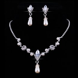 Wholesale Bridal Necklaces Light Purple - Bridal Wedding Faux Pearls Rhinestone Water Drop Necklace +Earrings Jewelry Set
