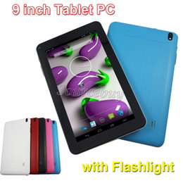 Wholesale Google Play Tablets - Action Quad Core 9 inch Dual Cameras Android 4.4 Tablet PC Google Play Store Flashlight 512MB 8GB Bluetooth Wifi HDMI Retail Box