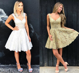 Wholesale Sexy Aline Prom Dresses - 2018 New Arrival Lace Homecoming Dresses Deep V Neck Sleeveless Aline White Silver Gold Backless Short Prom Dresses Party Dresses