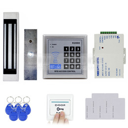 Wholesale Magnetic Card Access Control - Door Access Control Security System 125KHz Rfid Card Reader Keypad Kit + 180Kg Electric Magnetic Lock Door Bell Button K2000