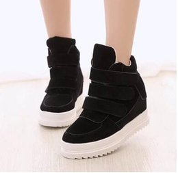 Wholesale Black Elevator Boots - 2016 Female Ankle Boots Fashion Scrub Elevator Casual Shoes Autumn Winter Thickening Women's High-Top Shoes Black Gray Blue 39