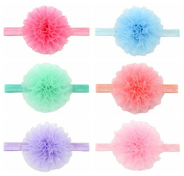 Wholesale Hair Elasticity - 6 colors Baby Girls yarn Flowers Headbands Elasticity Infant flower hair band kids Hair Accessories 4 inches Headdress C2461