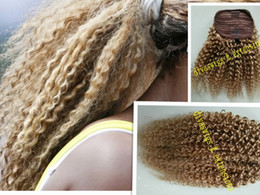 Wholesale 18 Blonde Ponytail - Best quality virgin Brazilian kinky curly human hair drawstring ponytail clip in honey blonde hair extensions