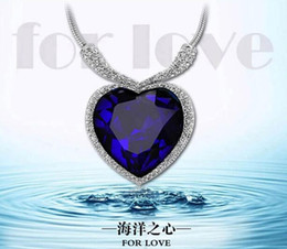 Wholesale Blue Sapphire Heart Pendant - Love Of Heart Diamond Titanic necklace Sapphire Crystal Chain Necklace Jack and Rose Memory Necklace Blue Diamond
