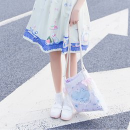 Wholesale Super Cute Rabbit - Wholesale-Super Cute Japanese Style Rabbits Printing Bows Braid Strap Shoulder Lolita Bag Color Light Pink with Blue Lining