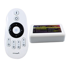 24v белые светодиодные фонари Скидка Беспроводной Mi Light 2.4 G 4-Zone LED пульт дистанционного управления беспроводной RF + 2-канальный контроллер диммер для двойного цвета белый теплый белый светодиодные полосы света