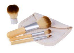 Wholesale Bamboo Blush Brush - 2016 HOT 4PCS Natural Bamboo Handle Makeup Brushes Set Cosmetics Tools Kit Powder Blush Brushes with Hemp linen bag DHL free shipping