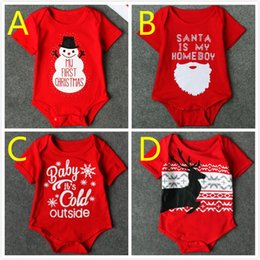 Wholesale Wholesale Baby Jumpsuits - 2017 Baby Christmas Bodysuits Rompers Babies Xmas Santa Onesies Clothes Jumpsuits Infants Toddlers Cotton Short Bodysuits Rompers For 0-3T