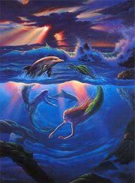 resina delfino Sconti Nuovo diy 5d mosaico pittura diamante punto croce kit delfino e sirena piena resina diamanti rotondi ricamo cucito decorazioni per la casa yx0165