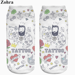 Wholesale Cute Tattoos Women - Wholesale-New arrival Funny Cute Tattoo Men Full Print Women's Men's Low Cut Ankle Socks Jogging Sport Cotton Hosiery Casual Sock Slippers