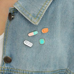 "Wholesale Wholesale Medical Pins - Cartoon pins ""smile;calm down;cheer up;relax;just stop"" Pill meds medical enamel pin set Bag jacket pins"