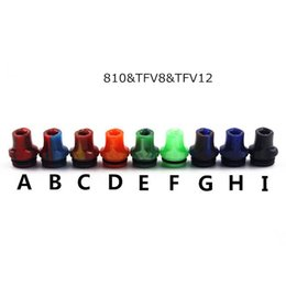 Wholesale Ecig Mouth Pieces - 810 tfv8 tfv12 drip tip whistle flat epoxy resin drip tip replacement mouth piece ecig holder