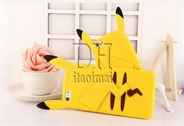 Wholesale Case For Iphone 4s Cute - 3D Cartoon Poke Pikachu Soft Silicone Gel Case Rubber Cute Phone back Cover Skin for iphone 5S SE 6 6S plus 4s DHL