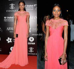 Wholesale Black Monique - Monique Lhuillier Sheer Lace Neck Celebrity Dresses 2016 Naomie Harris Dubai Film Festival Cap Sleeves Ruched Chiffon Evening Gowns for Prom