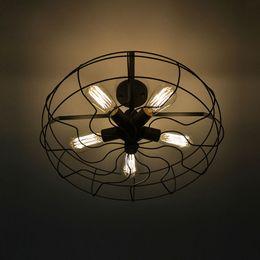 Vintage Rétro Industriel Ventilateur Plafonniers American Country Cuisine Loft Lampe Fer Matériel Installer 5 pcs E27 Edison Ampoules ? partir de fabricateur