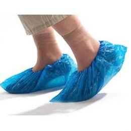Wholesale Disposable Waterproof Shoe Covers - 100Pcs Disposable Green Plastic No Odor Rain Waterproof Shoe Covers Blue E00008
