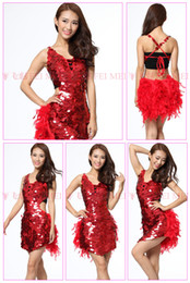 Wholesale Tango Sexy Red Dresses - Latin Dance Costumes Feathers Sexy Ballroom Dresses Free Size Red Tango Dress Sequin Lady Dancewear Dance Dress Latin Costume For Women