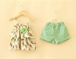 Wholesale Childrens Blouses - Wholesale New arrival 2018 summer Girls sling blouse + stripe shorts clothing set childrens clothing Two piece outfits good quality
