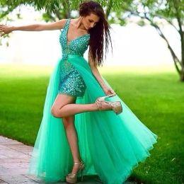 Wholesale Girls Short Natural Pageant Dresses - Removable Skirt Pageant Dresses for Girls 2017 Sexy Beautiful Elegant Runway Crystal Tulle V-neck Sheath Prom Dresses