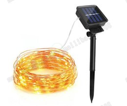 Wholesale Solar Fairy Christmas Lights - 2017 NEW 10m 100 LED Solar Lamps Copper Wire Fairy String Patio Lights 33ft Waterproof Outdoor Garden Christmas Wedding Party Decoration MYY