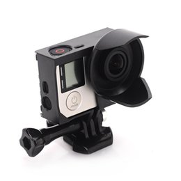 Wholesale Cam Accessories - Go Pro Action Camera Accessories Anti-exposure Protective Frame Housing Case With Lens Hood For GoPro Hero 3+ 3 4 Black Mini Cam