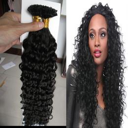 Wholesale Nail Tip Natural Hair Extension - U Tip Kinky Curly Brazilian Hair Extensions Keratin Pre bonded Nail Tip Hair Extension Human Virgin hair Fusion Hair Extensions Keratin 100g
