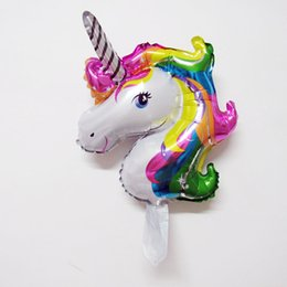 Wholesale Decorative Models - 50pcs lot smaller rainbow unicorn balloon fashion cartoon unicorn birthday party decorations air globos supplies ballons child toys