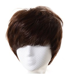 Wholesale Short Wigs Wholesale - Short Wigs Human Hair Pixie Cut Short Wigs Nature Color Can be Dyed Wigs Fashion Women Party Sexy Short Straight