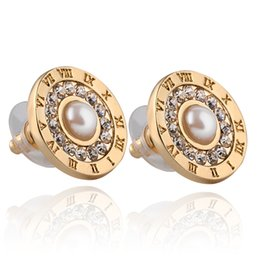 Wholesale Pearls Gold - 2018 Earrings zircon Rhinestone pearls Sunflower female models stud earrings Fashion Jewelry Gifts for women free zj-0903774