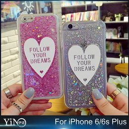 Wholesale Cover Follows - 2016 Glitter Bling Platinum Heart Follow Your Dream Clear Colorful Soft TPU Gel Case Back Cover For iPhone 6 6S Plus 100pcs lot