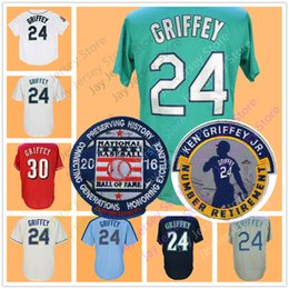 Wholesale Red White Blue Shorts - Ken Griffey Jr Jersey with Number Retirement & 2016 Hall Of Fame Patch 30# Green Cream Blue Teal Men Women