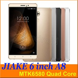 Wholesale A8 Wifi - 6 inch MTK6580 Quad Core 3G smartphone A8 JIAKE Android 5.1 Dual SIM Camera 5mp 960*540 512 4GB Gesture mobile free case rose gold 5pcs