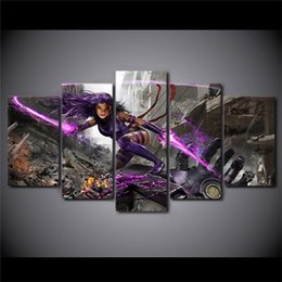 Wholesale Female Figure Abstracted - 5 Panels Female Warrior Modern Abstract Canvas Oil Painting Print Wall Art Decor for Living Room Home Decoration Framed Unframed