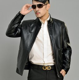 Wholesale Mens Green Color Leather Jackets - Fall-Autumn black business stand collar PU leather jacket high quality casual mens faux leather jackets and coats coat big size 4XL