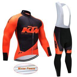 2017 LARANJA KTM camisa de ciclismo mountain bike camisas bib calças set Ropa ciclismo Inverno térmica de lã ciclismo desgaste bicicleta roupas J1503 de
