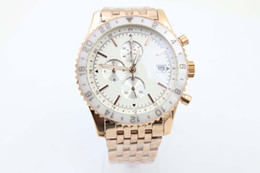 Wholesale Gold Banded Dresses - Special Sale Brel Quartz Watch Men White Dial Chronograph White Ceramic Case Gold Stainless Band 1884 Digital watch free shipping