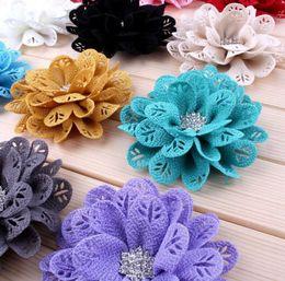 "Wholesale Eyelet Flower Headbands - 3 .7 ""12 Colors Fabric Eyelet Flowers With Rhinestone Button Fabric Flowers For Girl Headbands Flowers Headwear 50pcs  Lot"