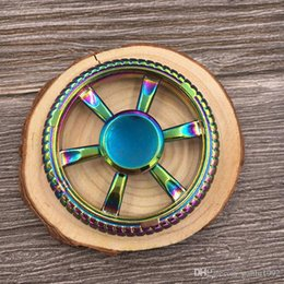 Wholesale 12 Color Wheel - Round Wheel Hand Spinner Rainbow Color EDC Metal Finger Toys Wear Resistant Focus Attention Fidget Spinners New Arrival 9wq B